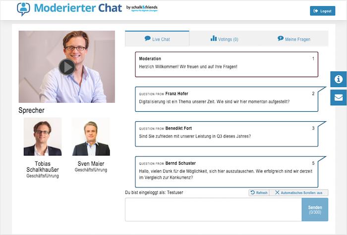 Moderierter Chat Chatfenster