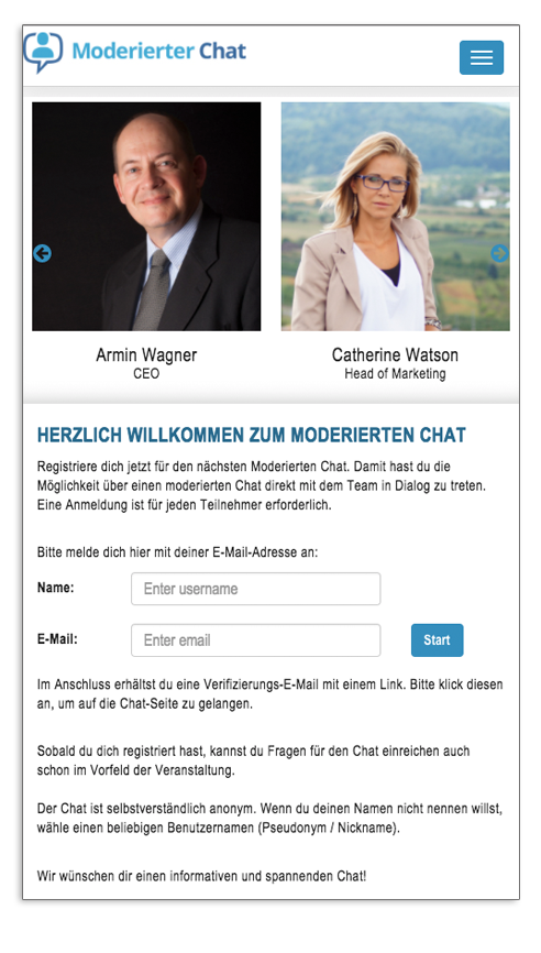 Moderierter Chat Login