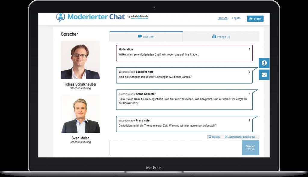 Moderierter Chat Webchat Beispiel Laptop