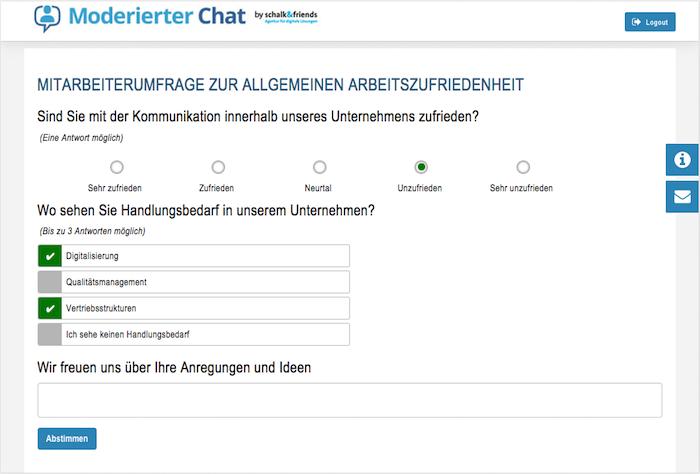 Moderierter Chat Mitarbeiterumfrage
