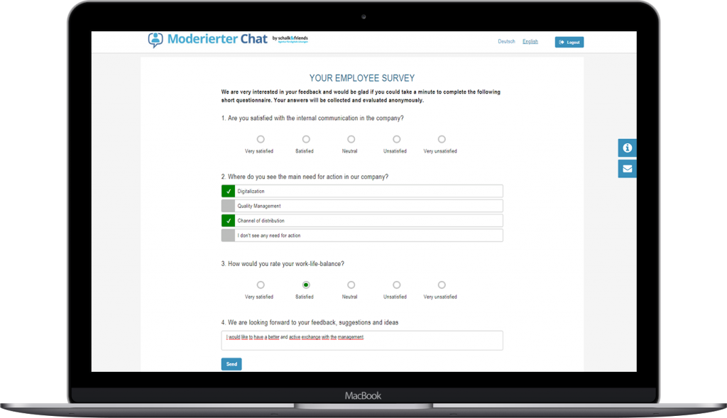 Moderated Chat employee survey