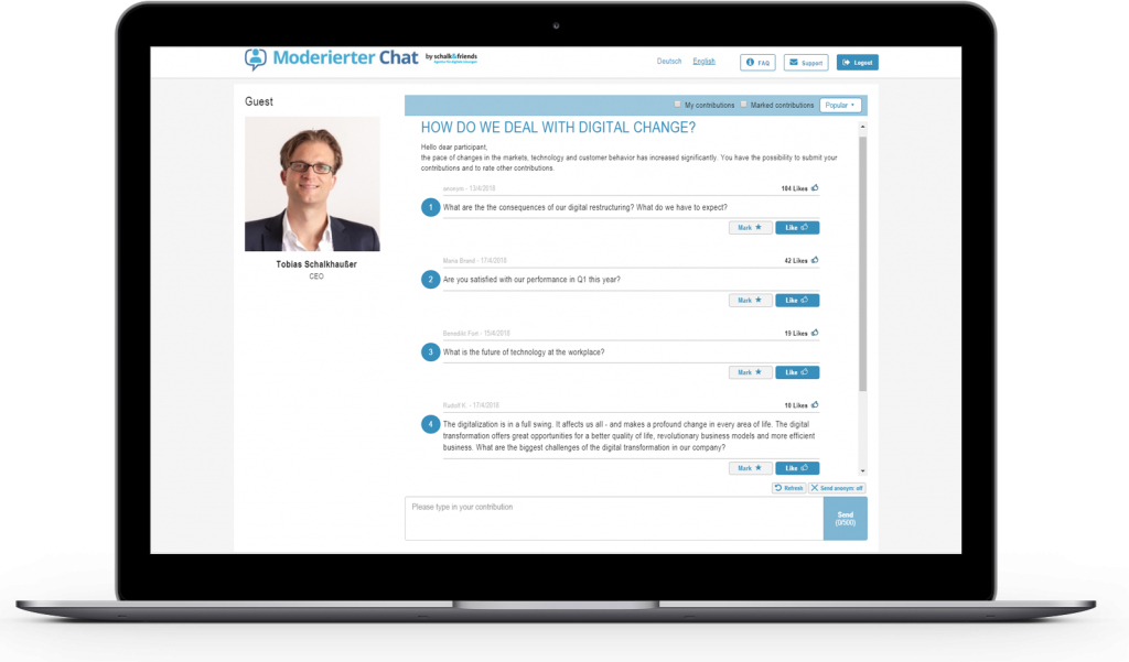 Moderated Chat topic management example