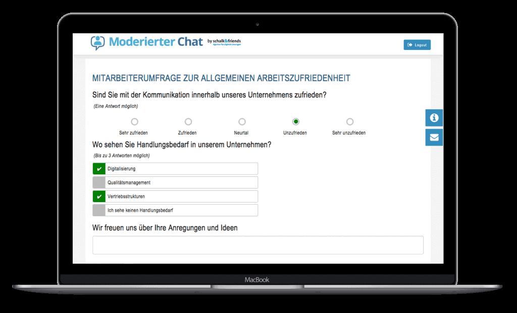 Moderierter Chat Mitarbeiterumfrage Labtop