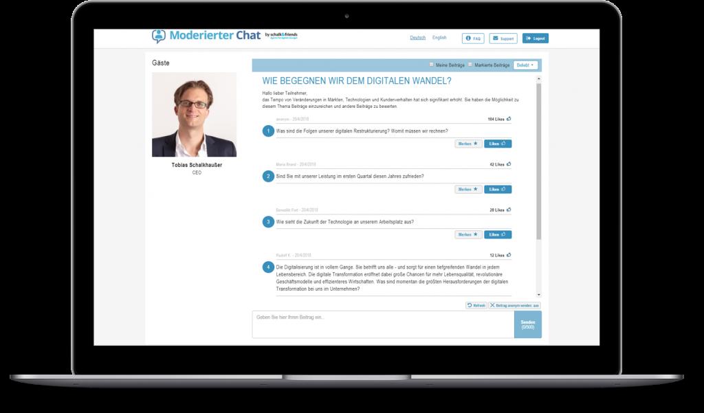 Moderierter Chat Themenmanagement Beispiel