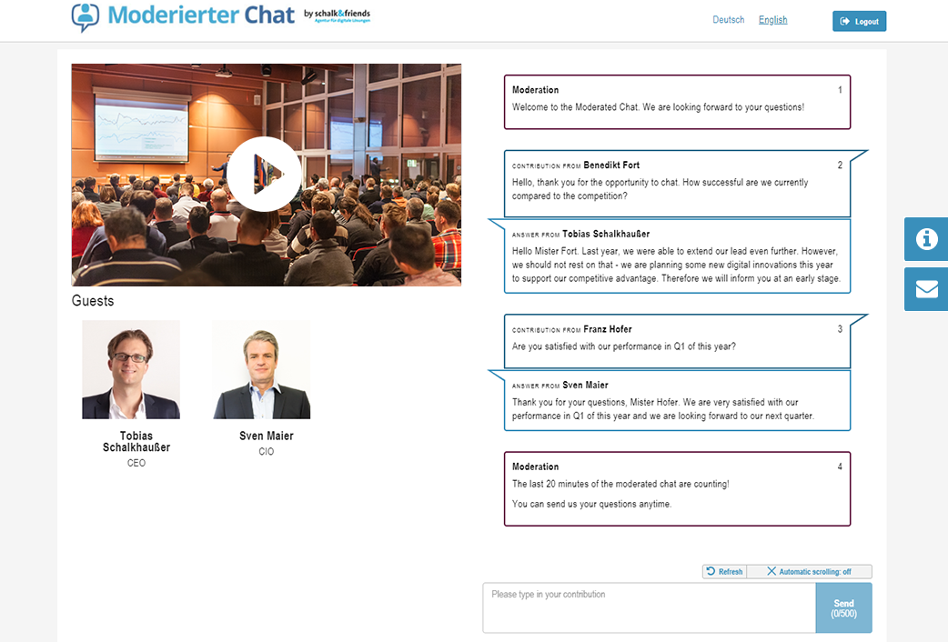 Moderated Chat open webcast