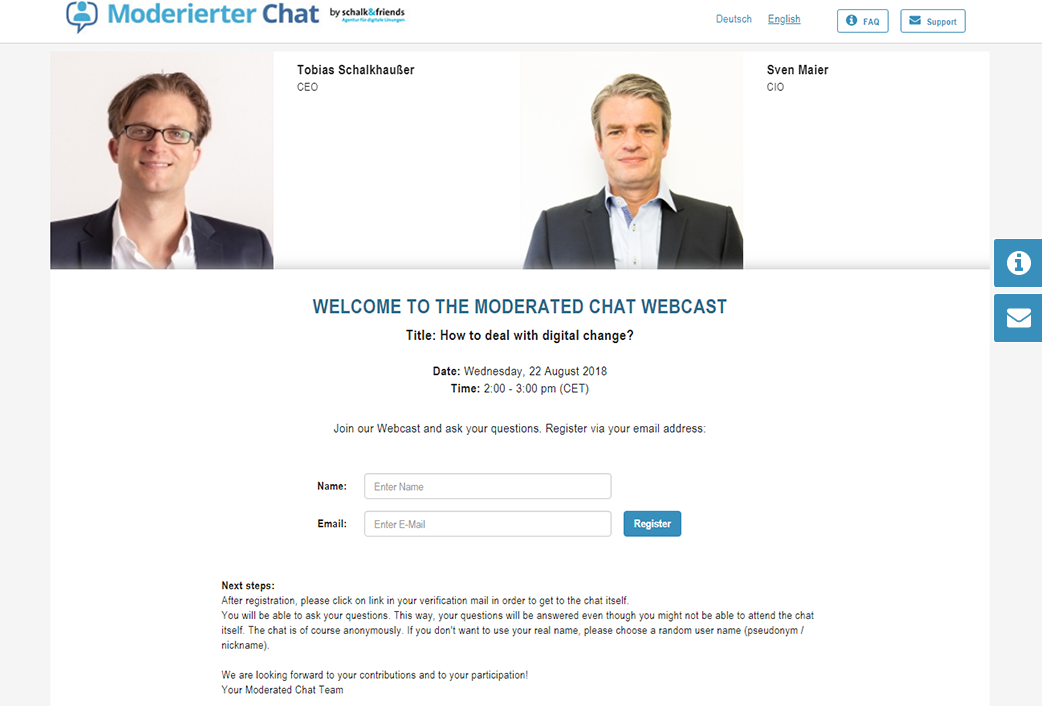 Moderated Chat register and login