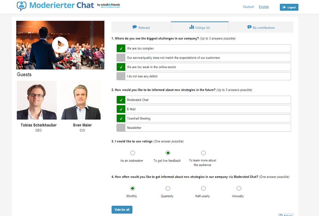 moderated chat voting while webchat