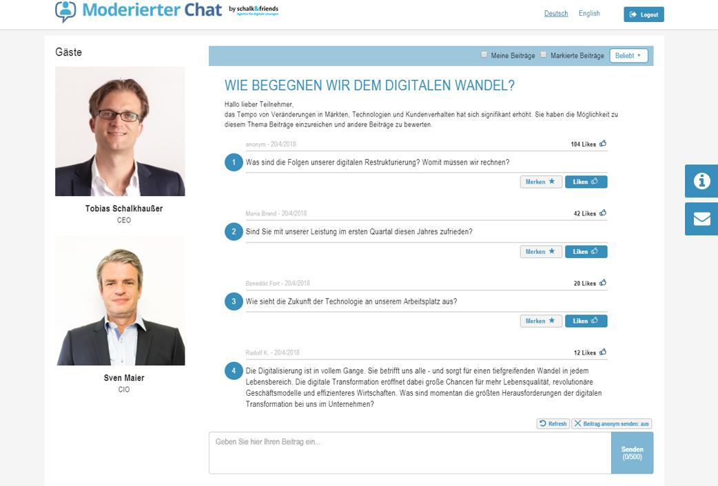 Moderierter Chat Fragenbewertung