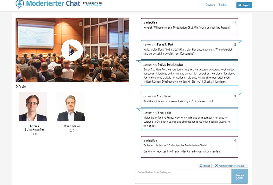 Moderierter Chat Webcast mit offenem Chat