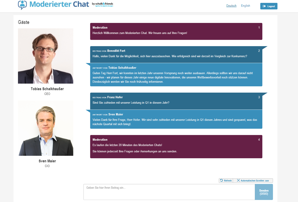 Moderierter Chat Webchat