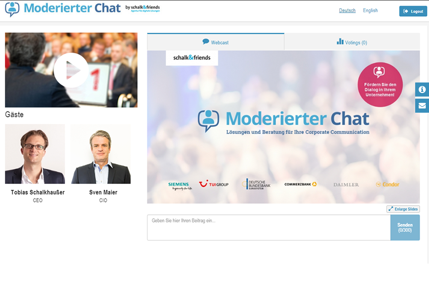 Moderierter Chat Pre-Chat Town Hall Meeting Livestream und PPT